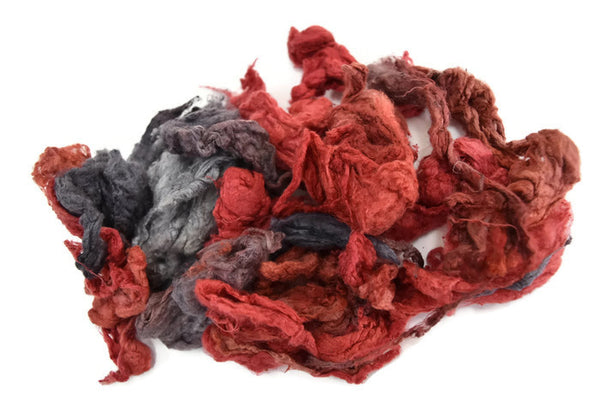 Silk Noil Hand Dyed, Recycled Silk Fibre Spinning Felting Carding Red Charcoal Mix 20 g 12386