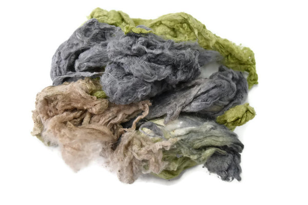 Silk Noil Hand Dyed, Recycled Silk Fibre for Spinning, Felting, Carding Grey Beige Green Mix 12387