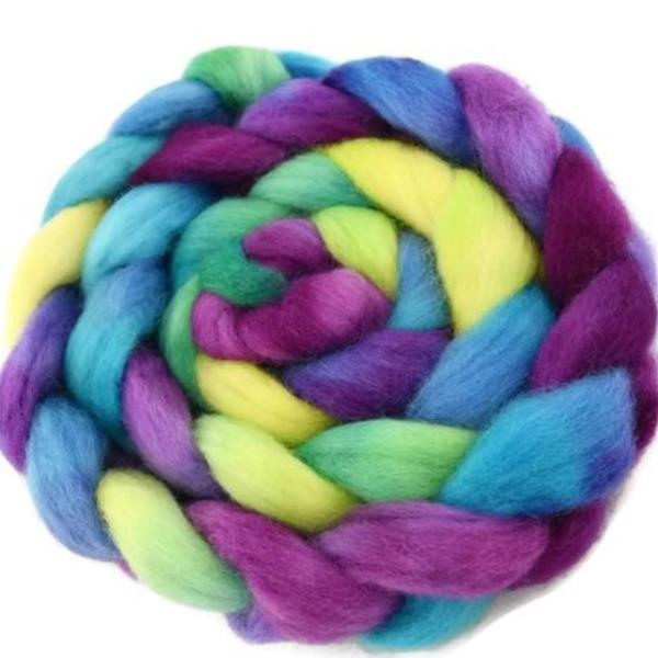 Wool Sliver/Roving/Top Corriedale Hand Dyed Rainbow 12401| Corriedale Wool | Sally Ridgway | Shop Wool, Felt and Fibre Online