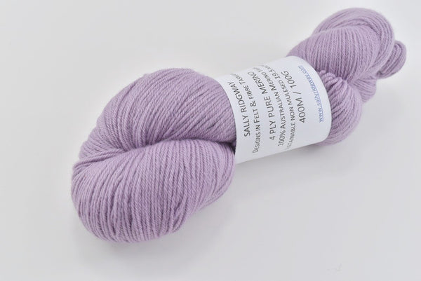 4 Ply Pure Merino Wool Hand Dyed Yarn Dusty Purple 12408| 4 Ply Pure Merino Yarn | Sally Ridgway | Shop Wool, Felt and Fibre Online