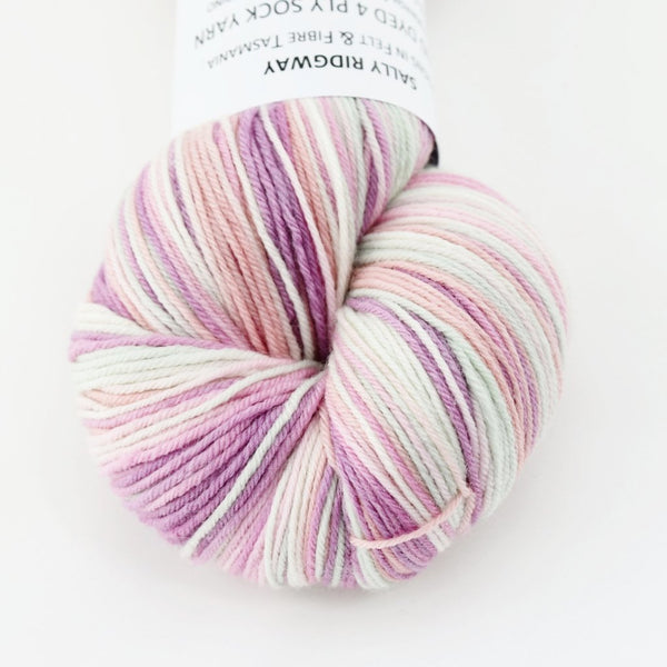 Sock Yarn 4 Ply Australian Merino Wool & Nylon Hand Dyed Soft Pink Mix 12539