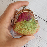 Wool Felt Coin Purse Handmade Jewellery purse in orange green and pink 12542| Coin Purse | Sally Ridgway | Shop Wool, Felt and Fibre Online
