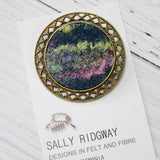 Metal Wool Felt Brooch Pin Turquoise Multi Colour 12570| Brooch | Sally Ridgway | Shop Wool, Felt and Fibre Online