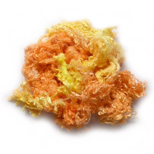 Mulberry Silk Throwster Waste Fibre Yellow 20 grams 12626| Silk Throwster | Sally Ridgway | Shop Wool, Felt and Fibre Online