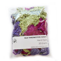Mulberry Silk Throwster Waste Fibre Purple Green 20 grams 12627| Silk Throwster | Sally Ridgway | Shop Wool, Felt and Fibre Online