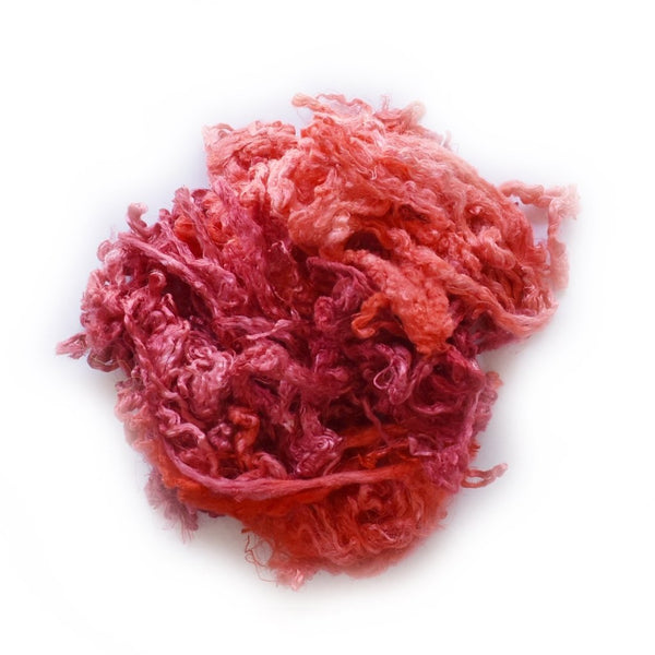Mulberry Silk Throwster Waste Fibre Red Orange 20 grams 12628| Silk Throwster | Sally Ridgway | Shop Wool, Felt and Fibre Online