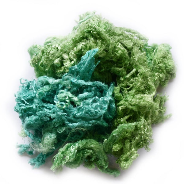 Mulberry Silk Throwster Waste Fibre Teal Green 20 grams 12629| Silk Throwster | Sally Ridgway | Shop Wool, Felt and Fibre Online