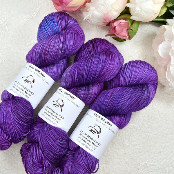 4 ply Supreme Sock Yarn Hand Dyed Blueberry Swoon 13381| Sock Yarn | Sally Ridgway | Shop Wool, Felt and Fibre Online
