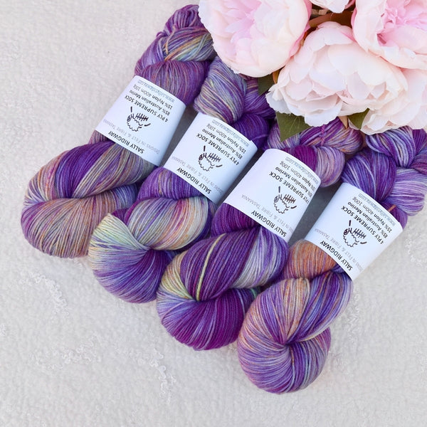 4 Ply Supreme Sock Yarn Hand Dyed in Viola Bouquet 13426| Sock Yarn | Sally Ridgway | Shop Wool, Felt and Fibre Online