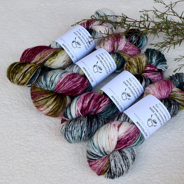 4 ply Supreme Sock Yarn Hand Dyed Plum Rose 13394| Sock Yarn | Sally Ridgway | Shop Wool, Felt and Fibre Online