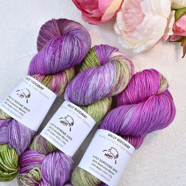 4 ply Supreme Sock Yarn Hand Dyed Vintage Rose 13202| Sock Yarn | Sally Ridgway | Shop Wool, Felt and Fibre Online