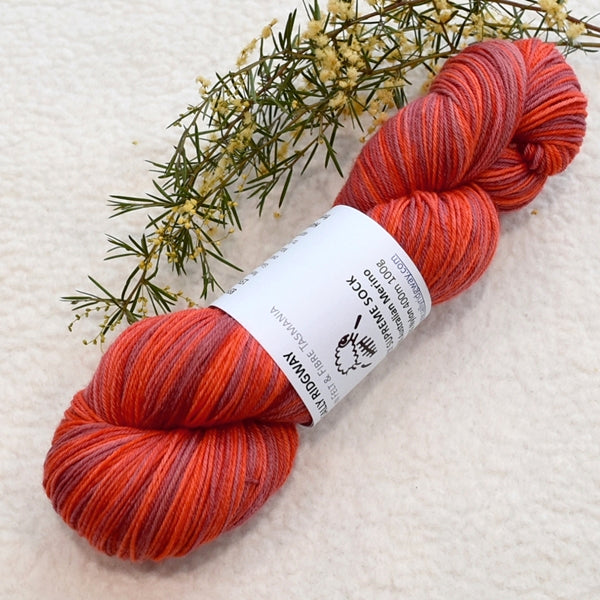 4 ply Supreme Sock Yarn Hand Dyed Cherry Red 13288| Sock Yarn | Sally Ridgway | Shop Wool, Felt and Fibre Online