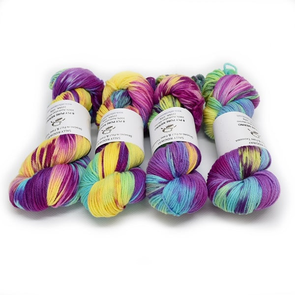 8 Ply DK Pure Merino Wool Yarn - Summer Rainbow 12855| 8 ply Pure Merino Yarn | Sally Ridgway | Shop Wool, Felt and Fibre Online