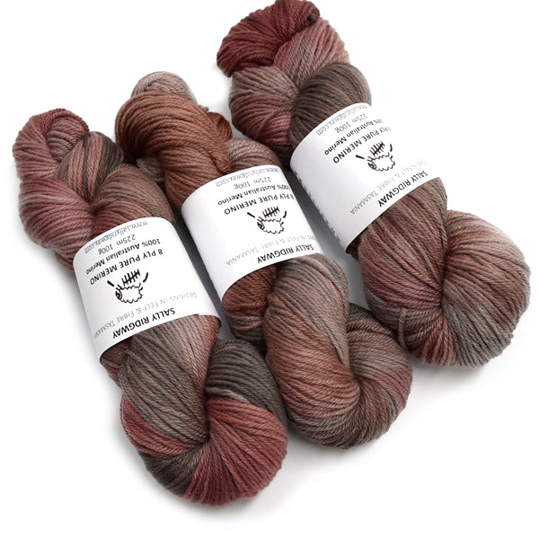 8 Ply Pure Merino Wool Yarn in Red Dirt 13050| 8 ply Pure Merino Yarn | Sally Ridgway | Shop Wool, Felt and Fibre Online