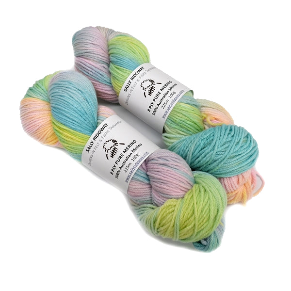 Hand Dyed 8 Ply Pure Merino Wool Yarn in Baby Cakes 13013| 8 ply Pure Merino Yarn | Sally Ridgway | Shop Wool, Felt and Fibre Online