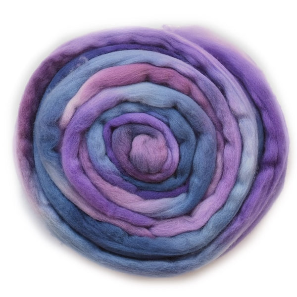 Tasmanian Merino Wool Combed Top in Crushed Plums 12924| Merino Wool Tops | Sally Ridgway | Shop Wool, Felt and Fibre Online