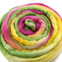 Australian Merino Wool Roving Combed Top Pink Yellow Green Mix 12300| Merino wool tops | Sally Ridgway | Shop Wool, Felt and Fibre Online