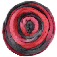 Australian Merino Wool Roving Combed Top Hand Dyed Red and Black 12770| Merino Wool Tops | Sally Ridgway | Shop Wool, Felt and Fibre Online
