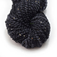 Black Hand Spun Chunky Merino Wool Yarn Thick & Thin with Sequins 11514| Hand Spun Yarn | Sally Ridgway | Shop Wool, Felt and Fibre Online