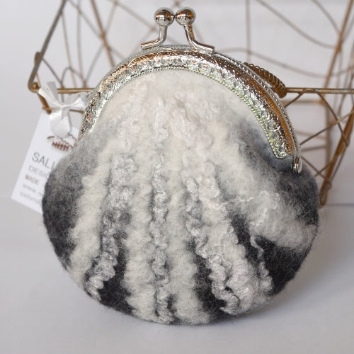 Black White Wool Felted Coin Purse 12370| Coin Purse | Sally Ridgway | Shop Wool, Felt and Fibre Online
