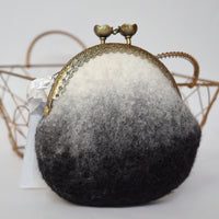 Black White Wool Felted Coin Purse 12547| Coin Purse | Sally Ridgway | Shop Wool, Felt and Fibre Online