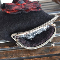 Black Wool Felted Clutch Purse After Five Shoulder Bag 12156| Wool Felt Bags | Sally Ridgway | Shop Wool, Felt and Fibre Online