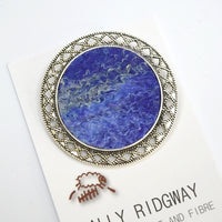 Blue Wool Felt Brooch Pin Round 13026| Brooch | Sally Ridgway | Shop Wool, Felt and Fibre Online