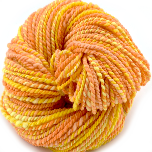 Chunky Hand Spun Yarn Australian Merino Wool Yellow Orange 12077| Hand Spun Yarn | Sally Ridgway | Shop Wool, Felt and Fibre Online