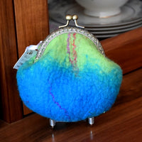Blue Hand Made Wool Felted Coin Purse 13039| Coin Purse | Sally Ridgway | Shop Wool, Felt and Fibre Online