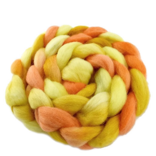 Corriedale Wool Roving Hand Dyed Yellow Mix 12404| Corriedale Wool | Sally Ridgway | Shop Wool, Felt and Fibre Online