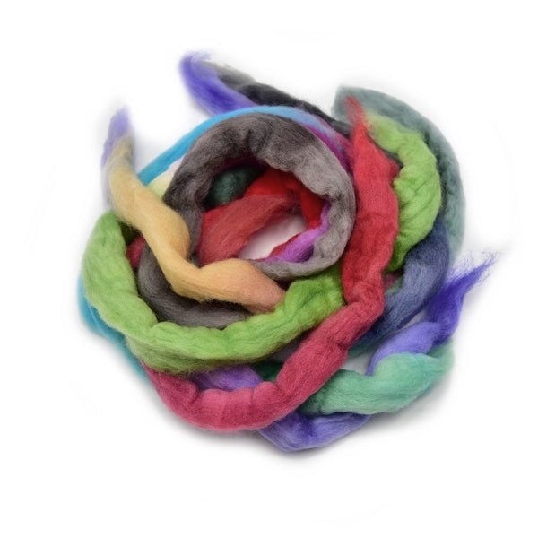 Corriedale Wool Top Grab Bags Roving Hand Dyed in Mixed Colours 100 Grams 12767| Corriedale Wool | Sally Ridgway | Shop Wool, Felt and Fibre Online