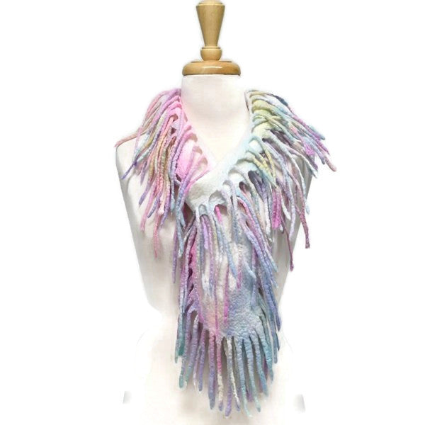 Shaggy Boa Wool Felt Scarf in Soft Rainbow 12931| Wool Felt Scarves | Sally Ridgway | Shop Wool, Felt and Fibre Online