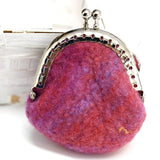 Wool Felted Coin Purse Handmade Kiss Lock Purse Multi 12543