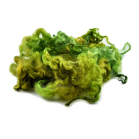 Tasmanian English Leicester Lamb Locks - Lichen Green 13111| English Leicester Wool Tops | Sally Ridgway | Shop Wool, Felt and Fibre Online