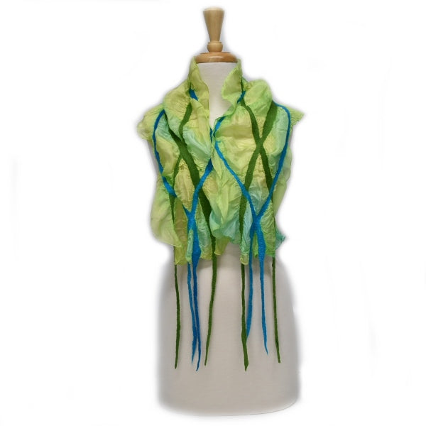 Nuno Felt Silk Art Scarf in Lime Green Turquoise 12734| Wool Felt Scarves | Sally Ridgway | Shop Wool, Felt and Fibre Online