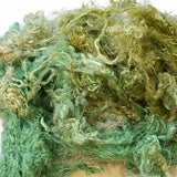 Green Silk Throwsters Waste Fibre Light Green Mix 20 grams 12350| Silk Throwster | Sally Ridgway | Shop Wool, Felt and Fibre Online