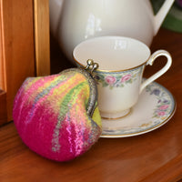 Wool Felted Coin or Accessory Purse in Raspberry 12300| Coin Purse | Sally Ridgway | Shop Wool, Felt and Fibre Online