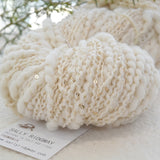 Hand Spun Chunky Merino Wool Yarn Thick & Thin with Sequins Natural White 11651| Hand Spun Yarn | Sally Ridgway | Shop Wool, Felt and Fibre Online