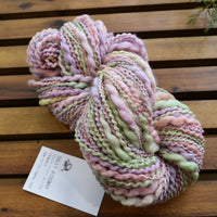 Hand Spun Chunky Tasmanian Merino Yarn Thick and Thin - Floral Cream 13075| Hand Spun Yarn | Sally Ridgway | Shop Wool, Felt and Fibre Online