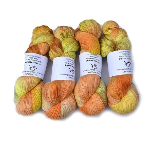 4 Ply Pure Australian Merino Wool Yarn Hand Dyed Cantaloupe 12932| 4 Ply Pure Merino Yarn | Sally Ridgway | Shop Wool, Felt and Fibre Online