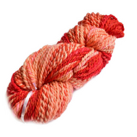 Hand Spun Chunky Australian Merino Wool Yarn Red Orange Apricot 12552| Hand Spun Yarn | Sally Ridgway | Shop Wool, Felt and Fibre Online