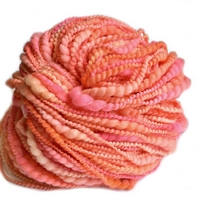 Hand Spun Yarn Merino Wool Pink Apricot Mix 12024| Hand Spun Yarn | Sally Ridgway | Shop Wool, Felt and Fibre Online