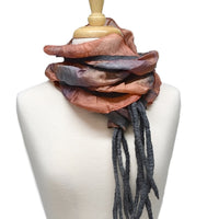 Nuno Felt Silk Art Scarf in Brown, Burnt Orange and Grey 12733| Wool Felt Scarves | Sally Ridgway | Shop Wool, Felt and Fibre Online