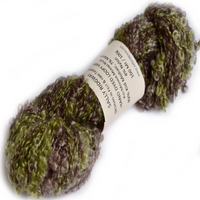 Kid Mohair & Merino Boucle Knitting Yarn Brown Green Mix 12115| Hand Spun Yarn | Sally Ridgway | Shop Wool, Felt and Fibre Online