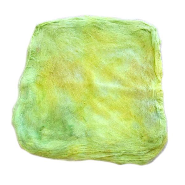 Mulberry Silk Hankies Hand Dyed Lime Crush 13292| Silk Hankies | Sally Ridgway | Shop Wool, Felt and Fibre Online