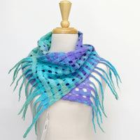 Merino Wool Felt Scarf Wrap Purple Blue Green Australian 12260| Wool Felt Scarves | Sally Ridgway | Shop Wool, Felt and Fibre Online
