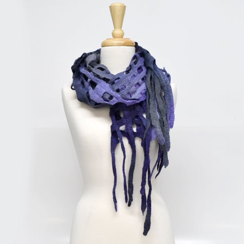 Merino Wool Felt Scarf Wrap Shawl in Deep Purple Charcoal 11568| Wool Felt Scarves | Sally Ridgway | Shop Wool, Felt and Fibre Online