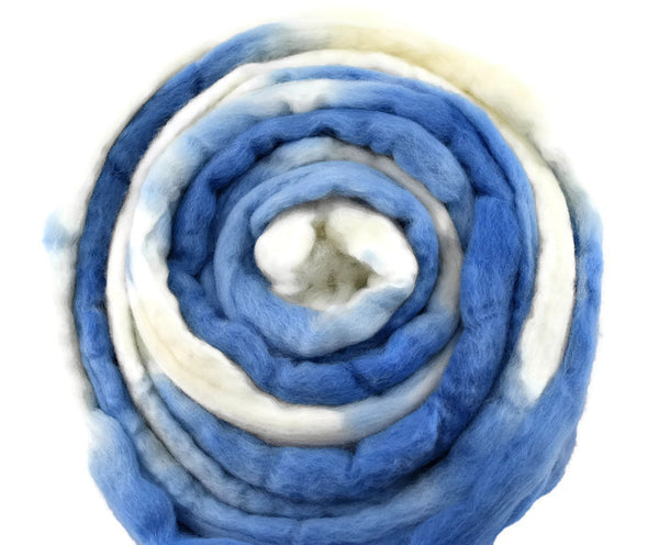 Merino Wool Roving/Combed Top Blue White 12295| Merino wool tops | Sally Ridgway | Shop Wool, Felt and Fibre Online
