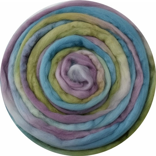 Australian Merino Wool Roving Combed Top Hand Dyed Soft Teal Rainbow 12657| Merino Wool Tops | Sally Ridgway | Shop Wool, Felt and Fibre Online