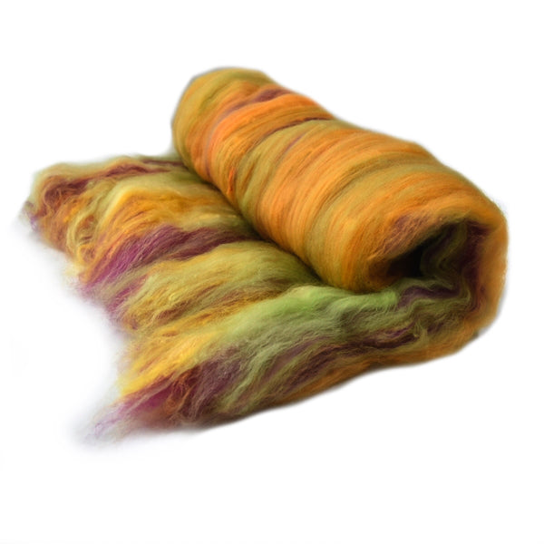 Tasmanian Merino Wool Carded Batts Hand Dyed Autumn 13150| Merino Wool Batts | Sally Ridgway | Shop Wool, Felt and Fibre Online